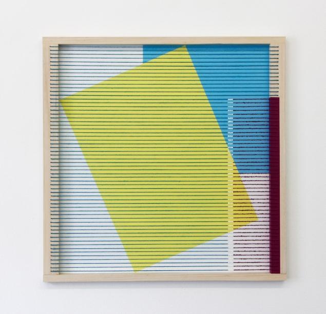 (Un)steady Object I / (Ó)stöðugur hlutur I, 2014, Acrylic paint, wood, wool and house paint, 57 x 57 cm