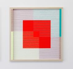 (Un)steady Object II / (Ó)stöðugur hlutur II, 2014, Acrylic paint, wood, wool and house paint, 57 x 57 cm