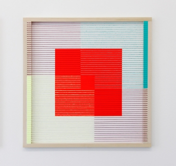 (Un)steady Object II / (Ó)stöðugur hlutur II, 2014, Acrylic paint, wood, wool and house paint, 57 x 57 cm