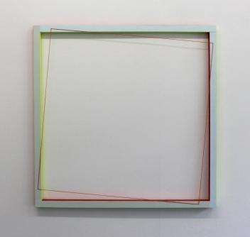 (Un)steady Object V / (Ó)stöðugur hlutur V, 2014, Acrylic paint, wood and wool, 80 x 80 cm
