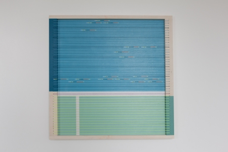 Samtal við RJR III, 2015, Acryllic on wood, wool and nylon, 57 x 57 cm